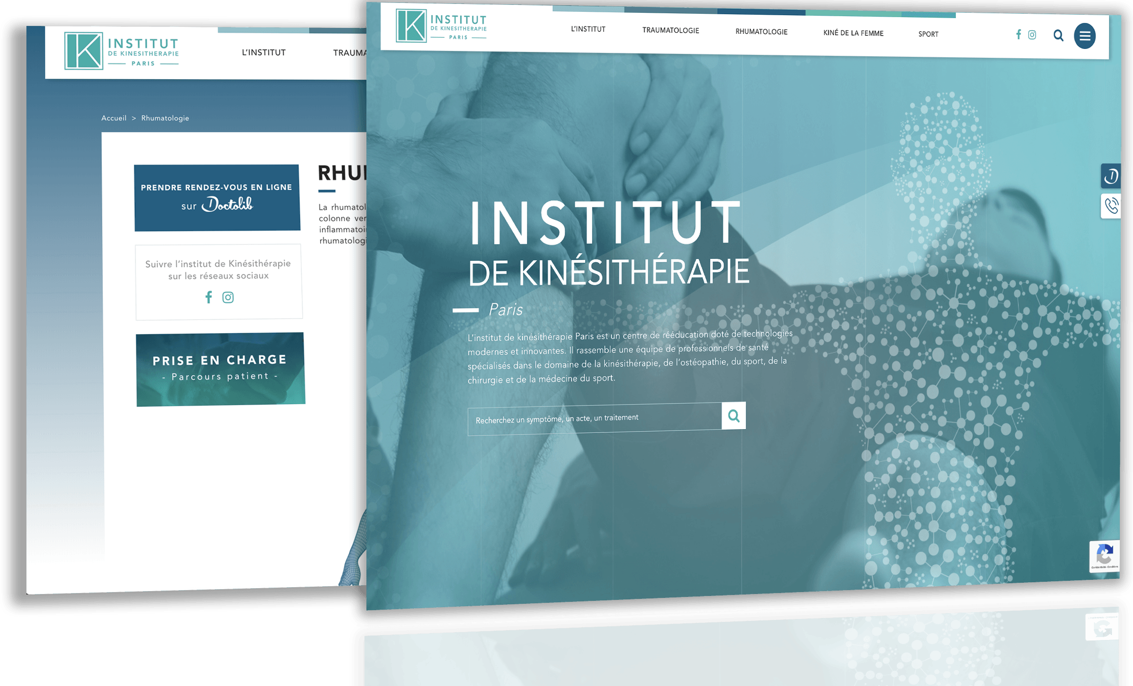 Site de Institut de Kinesitherapie Paris par Antipodes Medical, Agence Web Medical